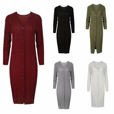 WOMENS CARDIGAN LADIES CASUAL BASIC CABLE KNIT BUTTON LONGLINE KNITTED CARDIGAN