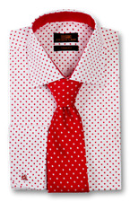 Set- Dress Shirt & Tie Set By SL Spread collar French Cuff-Red/White-TA1706-RD