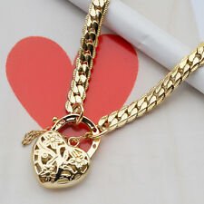 "9K Yellow Gold Filled Solid Euro Bracelet With Heart Locket ""Stamp 9K """