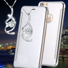 Mirror Flip Cover Clear View Case Slim Leather Hard PC Back For Apple iPhone
