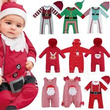 Newborn Baby Boys Girls Christmas Clothes Hoodie Romper Jumpsuit Bodysuit Outfit