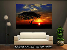 Wall Art Canvas Print Picture Africa Savanna Sunset Trees-Unframed