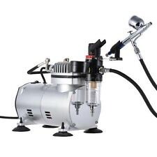 Airbrush Kit Dual Action Gravity Feed Air Compressor Crafts Hobby Painting W8S6