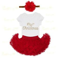 My 1st Christmas Infant Baby Girls Romper Tutu Dress Headband Party Outfit 3-24M
