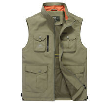 New with tags  Mens Loose Vest Multi-Pocket Stand Collar Thin Vest cotton