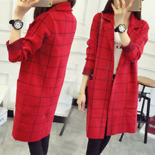 Sweater Long Section Coat Knitting Fashion Women Lattice