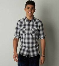 NEW MENS M MEDIUM AMERICAN EAGLE GRAY PLAID WESTERN SHIRT PEARL SNAPS COWBOY