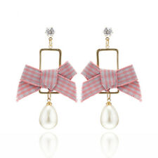 E19 Vintage Kitsch Gingham Bow and Pearl Dangle Stud Earrings