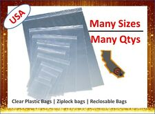 Small Medium Large Clear Zip Lock Reclosable Seal Top Poly Plastic Storage Bags