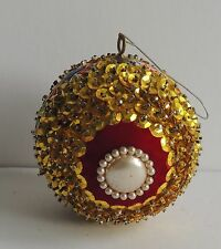 Vintage Hand Crafted Heavily Sequined Jeweled Velvet Ball Christmas Ornament