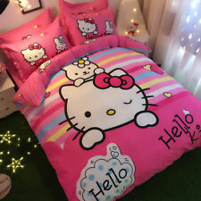 Promotion Hello Kitty & Bunny Queen Bed Quilt Cover Set - Flat or Fitted Sheet