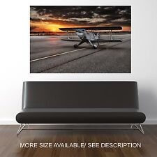 Wall Art Canvas Print Picture Propeller Airplane Sunset -UNFRAMED