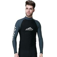 Men's UV Protect Wetsuit Shirts Long Sleeve Scuba Diving Surfing Rash Guard Top