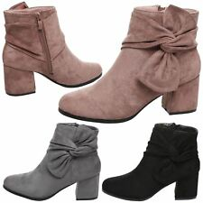 Nerine Womens Low Mid Block Heel Bow Detail Ankle Boots Ladies Shoes Style Size