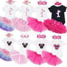 Baby Girls Princess Birthday Party Romper Dress Tutu Skirt 3Pcs Outfit Clothes