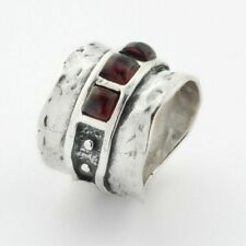 New SHABLOOL Ring 925 Sterling Silver Bordaux Natural Garnet Statement