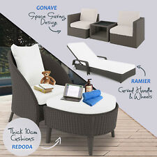 PE Wicker Rattan Outdoor Garden Furniture Sofa Set Chair Sunbed Lounge Setting
