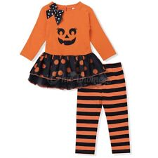 Halloween Baby Girls Long Sleeves Top Dress Striped Pants Outfits Set Clothes
