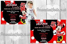 5 Minnie Mouse Girls Birthday Party Invitations Personalised Photo Invites