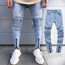 Fashion Men's Ripped Jeans Slim Skinny Straight Leg Denim Trousers Casual Pants