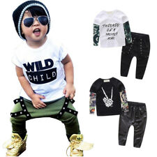 2PCS Toddler Baby Boy Cool Kid T-Shirt Top + Pants Clothes Street Fashion Outfit