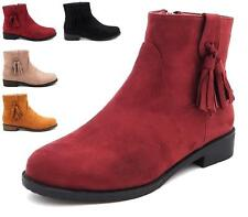 WOMENS LADIES FAUX SUEDE TASSEL ZIP LOW FLAT BLOCK HEEL ANKLE BOOTS SHOES SIZES