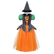 Halloween Kids Girls Princess Witch Hat Costume Fancy Dress Childs Cosplay Party