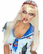 Womens Blonde Lobotomy Patient Open Brain Zombie Wig Horror Halloween Costume