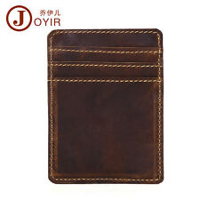 Men Retro Leather Slim Wallet ID Window Front Pocket Organizer Purse