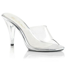 "Sexy 4"" wedding Pleaser slip on low clear heel shoes"