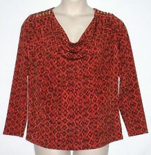 NWT $99.50  MICHAEL KORS WOMAN Linked Chain Draped Neck Blouse,1X & 3X, Mandarin
