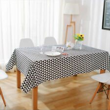 Tablecloth Table Runner Cover Table Mats Placemat Cotton Linen Black Decor Home