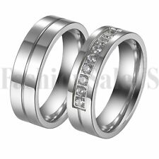 SZ 5-12 His and Hers Couple Rings CZ lnlaid Promise Wedding Engagement Band 2PCS