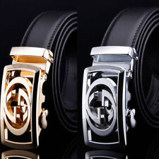 Luxury Mens Genuine Leather Belt Alloy Automatic Buckle Fashion Waistband Casual