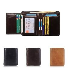Mens Genuine Leather Money Clip Wallet ID Card Holder Bifold Coin Purse Pockets