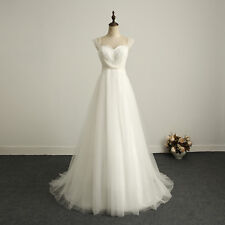 In Stock Beading Ivory Chiffon Lace Wedding Dress Bridal Gown US Size 4-22