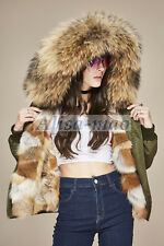100% Real Raccoon Fur Collar Coat Women Hooded Real Fox Fur Lining Jacket Casual