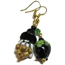 Halloween Witch and Cauldron Lampwork Glass  Bead Earrings By SoniaMcD
