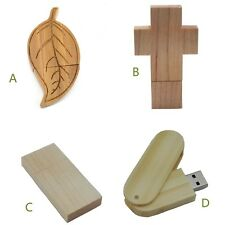 16GB 32GB 3D Wooden Cross Leaf Swivel Rectangle USB Flash Drive Memory Stick