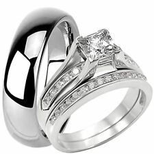 3 PC Solid 925 Sterling Silver CZ Engagement Wedding Ring Set 6 MM Tungsten Band