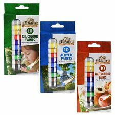 10 x 6ml Mixed Assorted Colour Paint Set Art Craft Tubes Oil Acrylic Water Based