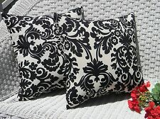 2 Pack ~ Black White Floral  Decorative Indoor Outdoor Throw Toss Pillow USA