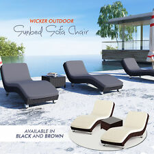 NEW PE Wicker Outdoor Sun Day Bed Rattan Daybed Setting Lounger Table Garden Set