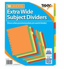 10 Part Extra Wide/Subject Filing File Dividers A4 Multi Punched Coloured Coded