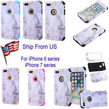 Marble Shockproof Hybrid Heavy Duty Rubber Hard Case Cover For iPhone 7 6S Plus