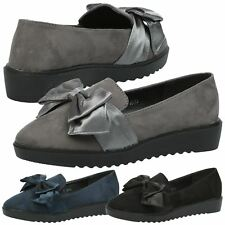 Edith Womens Flats Low Heels Flatform Satin Bow Loafers Ladies Shoes Pumps Size