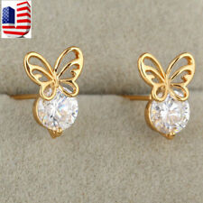 Women Gold Plated Butterfly Round Austrian Crystal stud Earrings For Girl gift