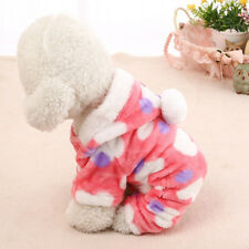 Coral Velvet Pet Dog Cat Warm Four Feet Clothes Jacket With A Hat