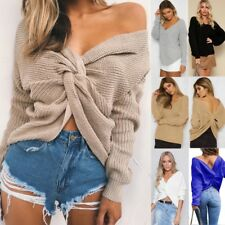 Womens Winter V Neck Baggy Ladies Top Chunky Knitted Oversized Sweater Jumper UK