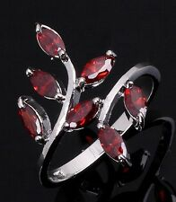 Size6,7,8,9,10 Jewelry Garnet 18K Gold Filled Women Wedding Anniversary Rings